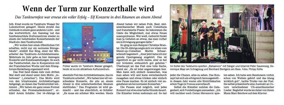 Rezension Rhein-Neckar-Zeitung zum TANKTURM-Fest 2019